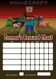 Minecraft Star Chart Personalised Minecraft Reward Chart Adding Photo Option Available