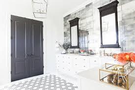 black and white hex floor tiles in bathroom
