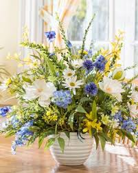 Magnolia, Larkspur & Daisy<br>Silk Flower Arrangement
