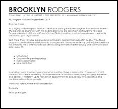 Program Assistant Cover Letter Sample
