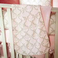Pink and Taupe Damask Crib Bedding | Girl Crib Bedding |Carousel ...