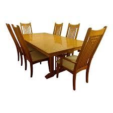 Natural Finish Solid Oak Dining Set Chairish