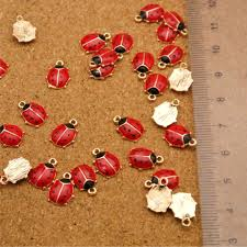 10PC Enamel Ladybug <b>Insect</b> Pendant For <b>DIY Earrings</b> Bracelet ...
