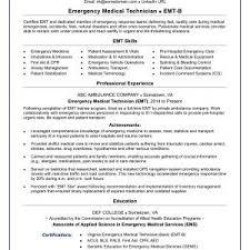 Med Tech Resume Valid Emt Resume Sample Madiesolution Com