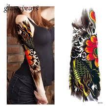 1 Ks Dočasné Plný Květina Rameno Tattoo Samolepka Ryba Vlna Design Vodní Přechod Objímka Body Art Falešný Tattoo Sticker At Vova