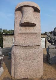 pink granite huge moai easter island head 132
