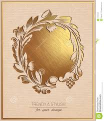 Golden Invitation Card Design Invitation Card With Gold Floral Ornament Template Frame