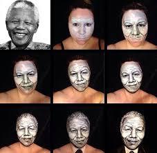 creating the image of nelson mandela top left on her own face bottom