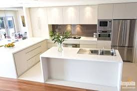open kitchen island with shelves and seating islands