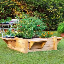 raised wooden planter box with benches