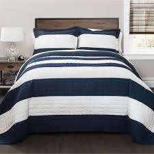 Navy White Wide Stripe Quilt Bedding SET – GoGetGlam & Navy White Wide Stripe Quilt Bedding SET Adamdwight.com