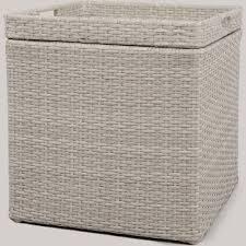 wicker storage patio accent table gray