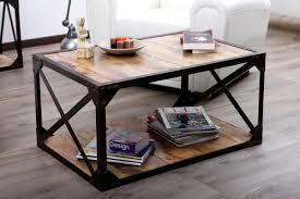 Table Basse Bois Massif Et M Tal Industrielle Atelier Miliboo