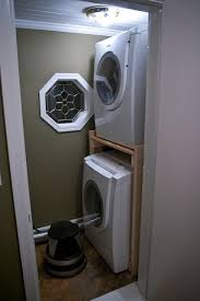 stackable washing machine. DIY Stacked Washer And Dryer. Frame \u0026 Shelf Built To Hold Stackable Washing Machine S