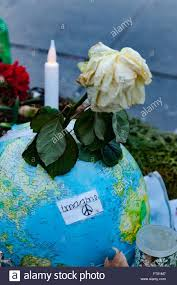 tributes to victims of terrorism in paris france stock image