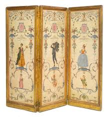 set of three louis xv polychrome painted panels now ed as a folding screen france second quarter century