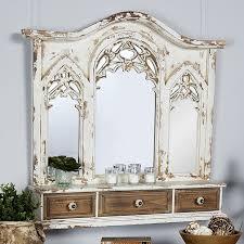 antique style mirror wall shelf