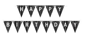Black Grey White Triangular Happy Birthday Bunting Letter Banner