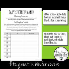 Daily Student Planner Pages 1 Self Regulation Organization Time Management