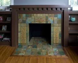arts and crafts fireplace tile mantle and bookcases