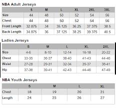 Nba Jersey Size Chart Size Chart
