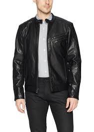 guess men s faux leather moto jacket l