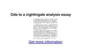 ode to a nightingale analysis essay google docs