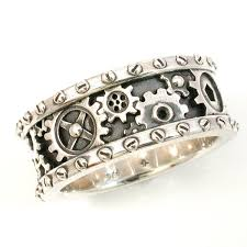Kinekt Design Gear Necklace Steampunk Mens Silver Ring Gears And Rivets Industrial