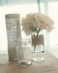 Simple Elegant Wedding Decor Elegant Wedding Reception Centerpieces Burlap Wrapped Vases Mason Jars