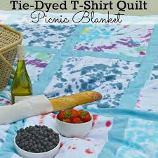 diy tie dyed t shirt quilt picnic blanket perfect for a summer picnic