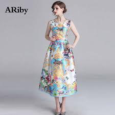 <b>ARiby Women</b> Printed Elegant Dress Spring Summer <b>Long</b> Maxi ...