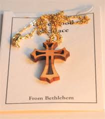 olive wood eastern cross pendant necklace with gold chain