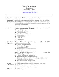 Sample Medical Resume Cover Letter Medical Assistant Objective For On Resume Template Download Medical