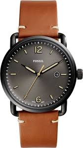 men s fossil commuter brown leather strap watch fs5276 loading zoom