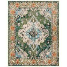 monaco forest green light blue 8 ft x 10 ft area rug