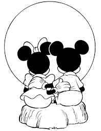 Small Picture Mickey And Minnie Mouse Watching Sunset Coloring Page H M