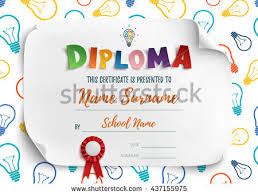 diploma template kids school preschool playschool stock vector  diploma template for kids school preschool playschool certificate background vector illustration