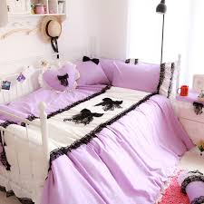 100 cotton girls pink bed set princess black lace duvet cover bedskirt queen size light blue purple available in bedding sets from home garden on