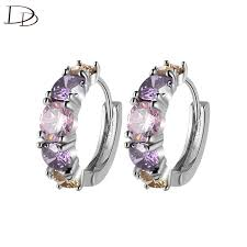 DODO <b>Romantic Purple</b> Pink Austrian <b>Crystal</b> Hoop Earrings For ...
