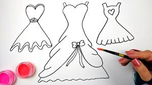 Draw Color And Paint Bow And Heart Dresses Coloring Pages For Kids