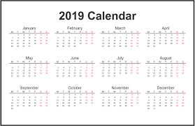 Word Year Calendar Yearly Calendar 2019 Pdf Excel Word Template Download Free