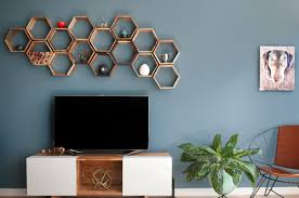 hexagonal geometric shelves above the tv monogram decor awesome wall decor above tv