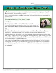 introduction body and conclusion worksheet for rd grade  write the conclusion writing activity giant panda passage writing an essaykids