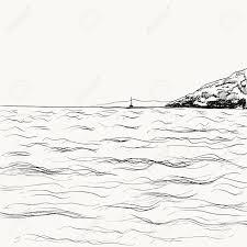 夏の海の風景スケッチ