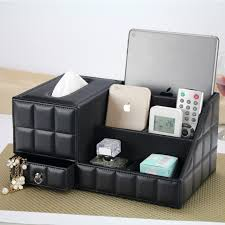 Multipurpose Desk Organizer Leather PU Vintage Office Desk Storage