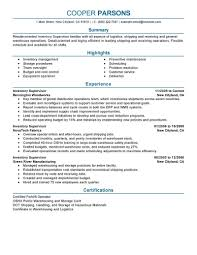 Best Inventory Supervisor Resume Example Livecareer Control