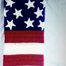 American Flag Crochet Pattern Custom America Flag Crochet Blanket With FREE Pattern YarnHookNeedles