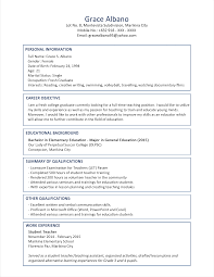 Sample Resume For Fresh Graduate Teachers Pdf Augustais