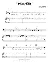 hallelujah piano sheet music hallelujah sheet music direct