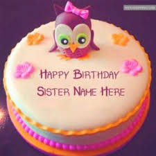 happy birthday cakes with wishes for sisters.  Wishes Sister Name Write Beautiful Bird Birthday Cakes Wishes Images Editor For Happy With Sisters